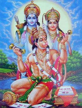 Hanuman singt Kirtan für Sita und Ram